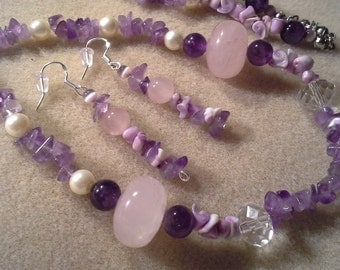Handcrafted Amethyst Rose Quartz Pearl  Curly Shell Beads Necklace & Earrings