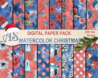 Digital Watercolor Christmas Paper Pack, 16 printable Digital Scrapbooking papers, blue christmas Digital Collage, Instant Download, set 238
