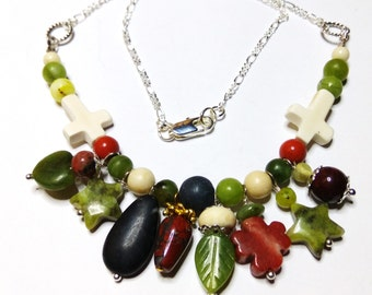 Four Irish Marbles necklace.  Connemara, Cork, Kilkenny and Ulster marbles.  Unique Necklace, handcrafted in the West of Ireland