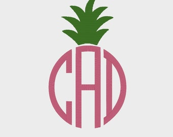 Pineapple Monogram Topper Embroidery file in 3 sizes in Multiple file formats for most machines - INSTANT DOWNLOAD - Item #2012