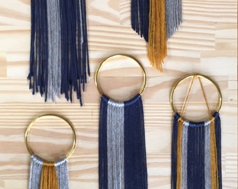 Mini Brass Hoop Woven Wall Hangings Bohemian Dreamcatchers >> gold navy blue & gray >> home decor art decoration new age modern ornament