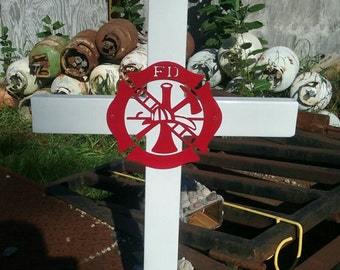 Memorial cross, firefighting, firefighter, him, her, gift, garden, yard art