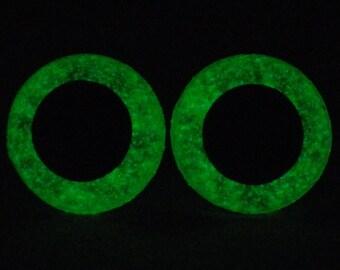 15mm Glow In The Dark Eyes, Metallic Green Safety Eyes With Green Glow, 1 Pair Of Glow In The Dark Safety Eyes