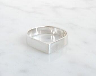 simple silver teardrop ring, basic silver wedding ring, pure jewelry, minimalistic wedding band