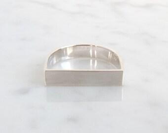 simpel angular silver ring, basic silver wedding ring, pure jewelry, minimalistic wedding band