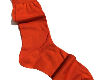 Men New Natural Ribbed %100 Cotton Fine Casual Dress Orange Socks Solid