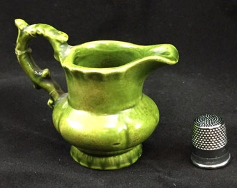 Arts ceramics miniature green vintage jug