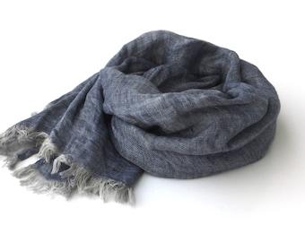 blue melange linen scarf for women and men