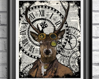 Steampunk deer poster Animal print, Vintage home decor, Dictionary print Stag
