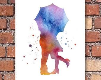 Umbrella Love Art Print - Abstract Watercolor Painting - Wall Decor
