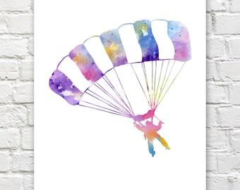 Skydiver Art Print - Abstract Watercolor Painting - Wall Decor