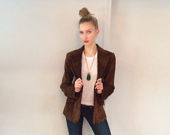 Vintage Saks Fifth Ave Brown Suede Blazer W Elbow Patches