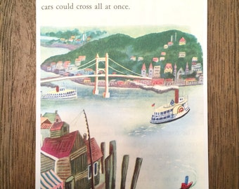 Scuffy The Tugboat - Vintage Repurposed Little Golden Book - Blank Greeting Card