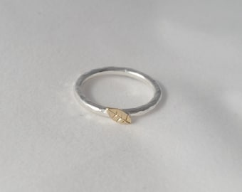 tiny leaf stacker - leaf ring - stacking ring with gold - silver and gold stacking ring - tiny gold leaf - tiny silver leaf
