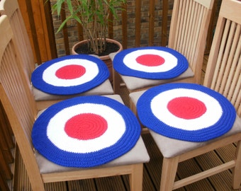 Mod target dining chair covers, chair covers, armchair covers, mod target roundel, crochet covers, 1960s inspired, red white blue, mod scene
