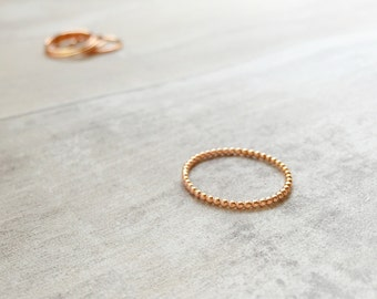 Simple Beaded Ring in Rose Gold Filled - Bobble Rose Gold Filled Ring - Beaded Band - Dotted Rose Gold Ring