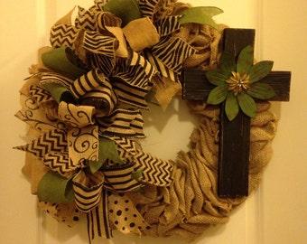 Burlap wreath with green cross