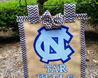 North Carolina Tar heels Burlap garden flag