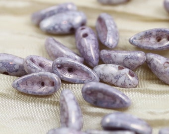 50pcs 4x11mm Marble Lavender Gold Luster 2-hole Chilli Czech Glass Beads