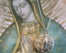 Guadalupe Necklace Our Lady of Guadalupe Medal Catholic jewelry Women's Chain Necklace