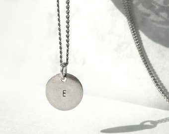 Chic Hand Stamped Necklace, Little Necklace, Initial Necklace, Sterling Silver Necklace, Personalized Jewelry, Letter Necklace by Atigga