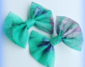 Floral Mesh Turquoise Pink Purple and Blue Hair Bow Set