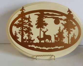 Oval Wood Plaque with Woodland Scene - Deer