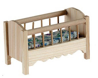 Superior Miniatures Dollhouse Furniture Baby Crib Unfinished Wood With Mattress   577