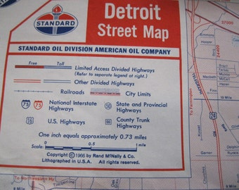 Standard Oil Detroit Street Map © 1966 by Rand MçNally & Co.