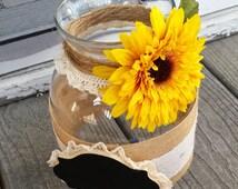 Rustic Sunflower Burlap and Chalkboard Wedding Advice Jar; Alternative Guest Book; Sunflower Wedding Decor; Advice Wedding Jar; Burlap Decor