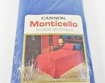 "Vtg Cannon Monticello Royal Blue No-Iron Bedspread, Full Size 90"" x 110"" New NOS"