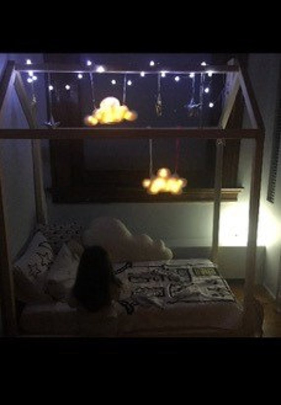 House Frame Bed Mobile,  Wooden House Garland of Clouds, Stars, LED Night Light Illuminated Kids Room Decor, Linen Gold Silver
