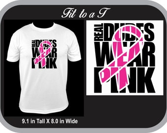Real Dudes Wear Pink Breast Cancer Awareness T-Shirt