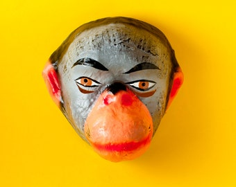 Traditional Mexican paper mache mask monkey