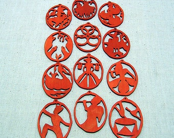 Hand Crafted Birch, 12 Days Of Christmas Ornament Set, Vintage