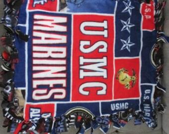 No sew fleece pet blanket USMC with 9/11 multi
