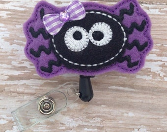 Spider retractable badge reel, Halloween felt badge reel, Halloween retractable badge reel, Spider Id holder, Nurse Badge Reel