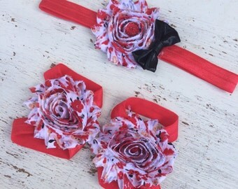 Baby headbands and Barefoot sandals; baby barefoot sandals; red floral sandal; toddler barefoot sandal; sandal