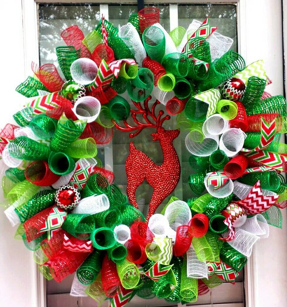 Christmas Deco Mesh Reindeer Wreath Red White Green Holiday