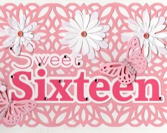 Sweet Sixteen Pink Lace cutout.