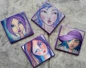 Art Journal Favorites - A Set of 4 Coordinating Faces Coasters - Original Art Renderings on a Purple Background - 100% Handmade & Waterproof