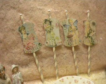 Cup Cake Toppers / Party Decorations Victorian Women  (4)