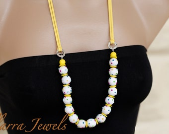 Polymer Clay Bead Necklace with white and color Polka Dot clay beads on Yellow Suede Cord - OOAK
