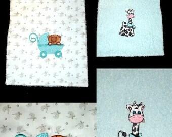 bib baby reversible embroidered elastic sponge