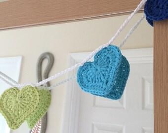Rainbow Crochet Heart Bunting - Crochet Bunting