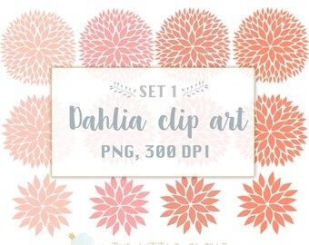 Flower Clip Art, Dahlia flower clipart, flowers clip art, wedding floral clipart, PNG
