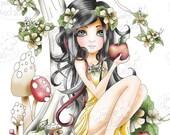 Snow White/apple Fairytale Black and white Digital Stamp