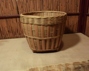 Vintage Chinese Bamboo Round Basket