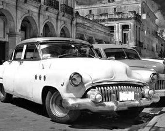 Havana, Cityscape Street With Vintage Cars Automobiles In Havana Cuba. Black & White Photography Picture, B And W Prints Framed / Unframed