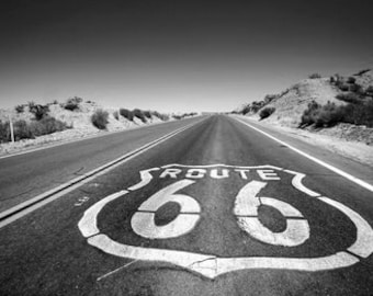 Route 66, Landscape Of The Famous Route 66 USA. Black & White Photography Picture, B And W Prints Framed / Unframed